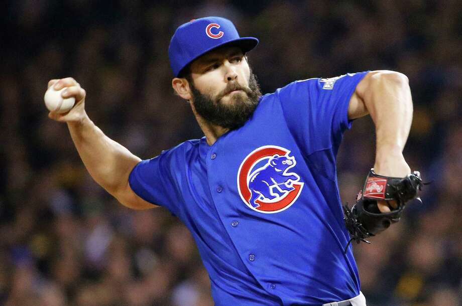 Chicago Cubs starting pitcher Jake Arrieta throws against the Pittsburgh Pirates in the first inning of the National League wild card baseball game, Wednesday, Oct. 7, 2015, in Pittsburgh. (AP Photo/Gene J. Puskar) ORG XMIT: PAKS112 Photo: Gene J. Puskar / AP