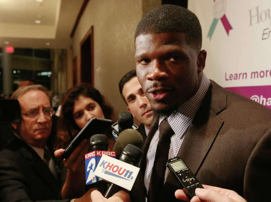 Andre Johnson speaks with members of the media before the Moonlight Soiree Spring Gala Friday, April 17, 2015, in Houston. ( Jon Shapley / Houston Chronicle ) Photo: Jon Shapley, Staff / © 2015 Houston Chronicle