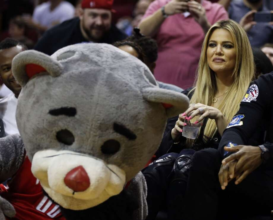 Khloe Kardashian sits court side during second Wednesdays preseason NBA game at the Toyota Center, Oct. 7, 2015, in Houston.