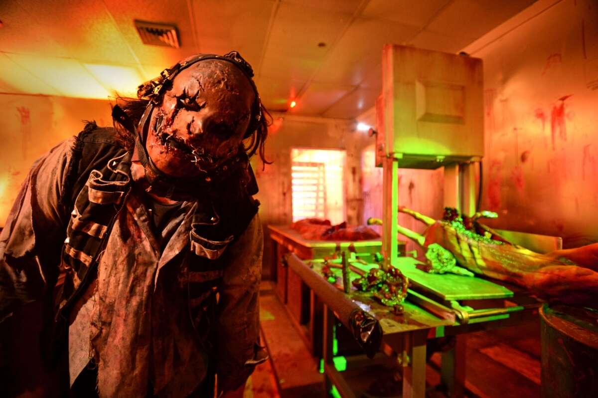 Kirk Melancon in the butcher shop at the Haunted Hotel in Beaumont. The 'boo' filled business opened Friday downtown and plans its last scare Halloween night. Photo taken Thursday, September 26, 2015 Guiseppe Barranco/The Enterprise