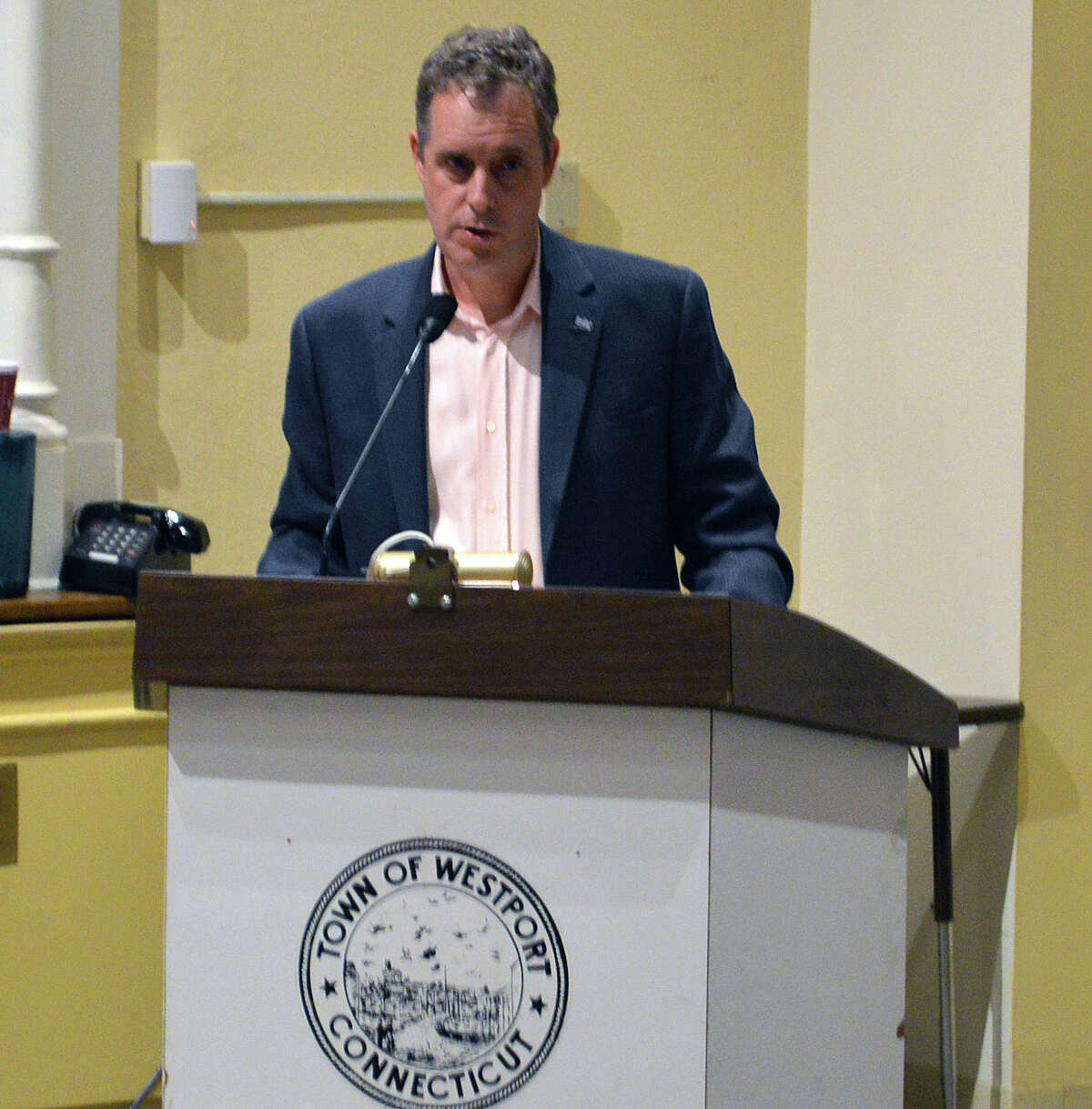 Morley Boyd, addressing the Representative Town Meeting, has been outspoken about his view that there is a need for a committee to study designating the Saugatuck swing bridge a local historical landmark.