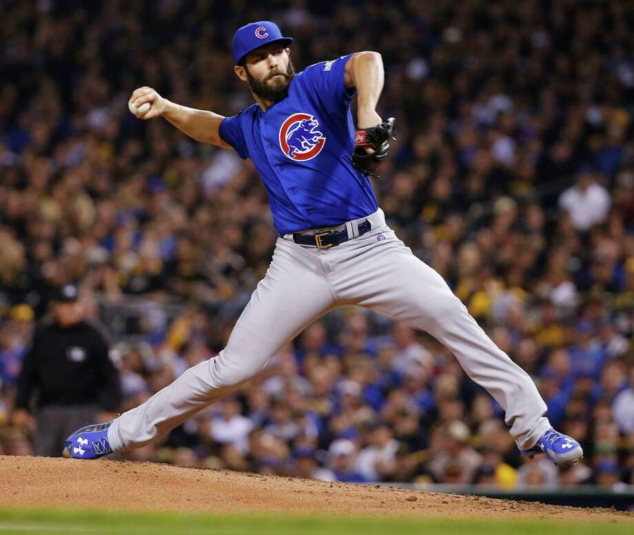 Chicago Cubs starting pitcher Jake Arrieta throws against the Pittsburgh Pirates in the first inning of the National League wild card baseball game, Wednesday, Oct. 7, 2015, in Pittsburgh. (AP Photo/Gene J. Puskar) ORG XMIT: PAKS109 Photo: Gene J. Puskar / AP