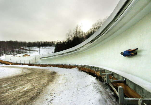 The bobsled and luge run at Mount Van Hoevenberg Olympic Sports Complex in Lake Placid, NY, in February 2005, the 25th anniversary of the 1980 Winter Olympics. (Will Waldron/Times Union archive) Photo: WW / ALBANY TIMES UNION