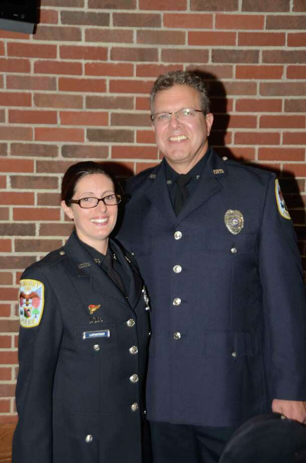 Police Officers Amity LaFantano and Robert Conrad were named sergeants during a promotion ceremony at Danbury City Hall on Wednesday. Photo: Contributed