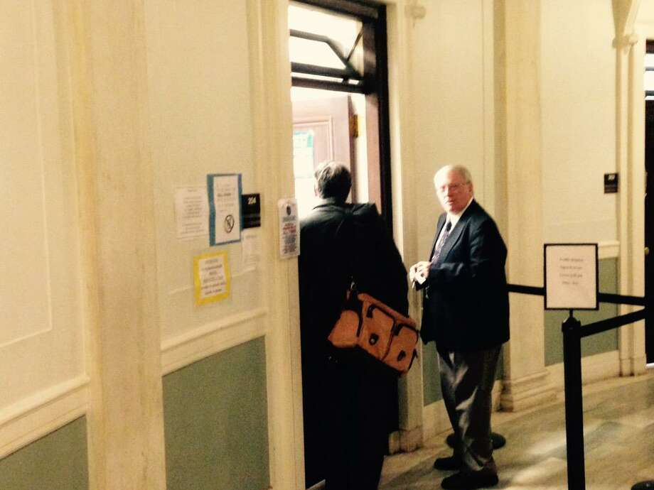 Art Brassard, right, the Schenectady County Republican elections commissioner who abruptly retired weeks ago, pleaded guilty to disorderly conduct Thursday to resolve accusations he tampered with an elections petition. Brassard, who must pay a $250 fine after pleading guilty to the violation, pleaded guilty at his arraignment in City Court. (Paul Nelson / Times Union)