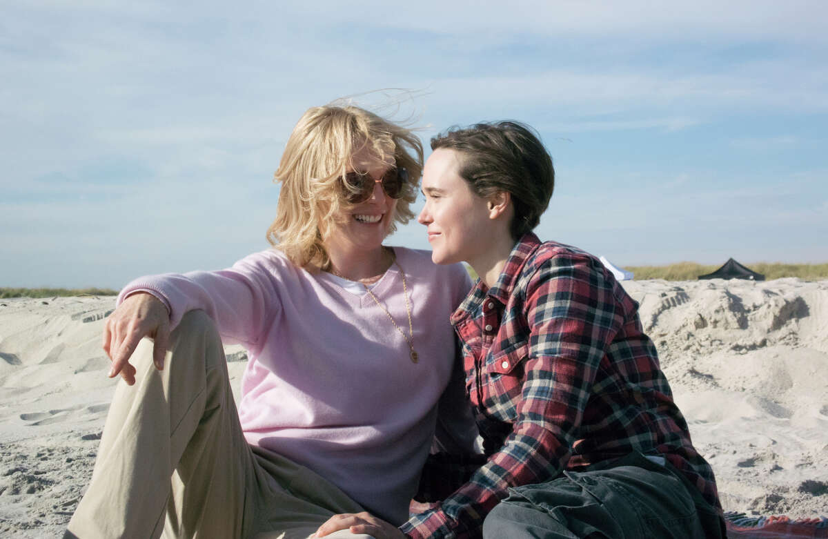 Julianne Moore, left, as Laurel Hester, and Ellen Page as Stacie Andree, in a scene from the film,