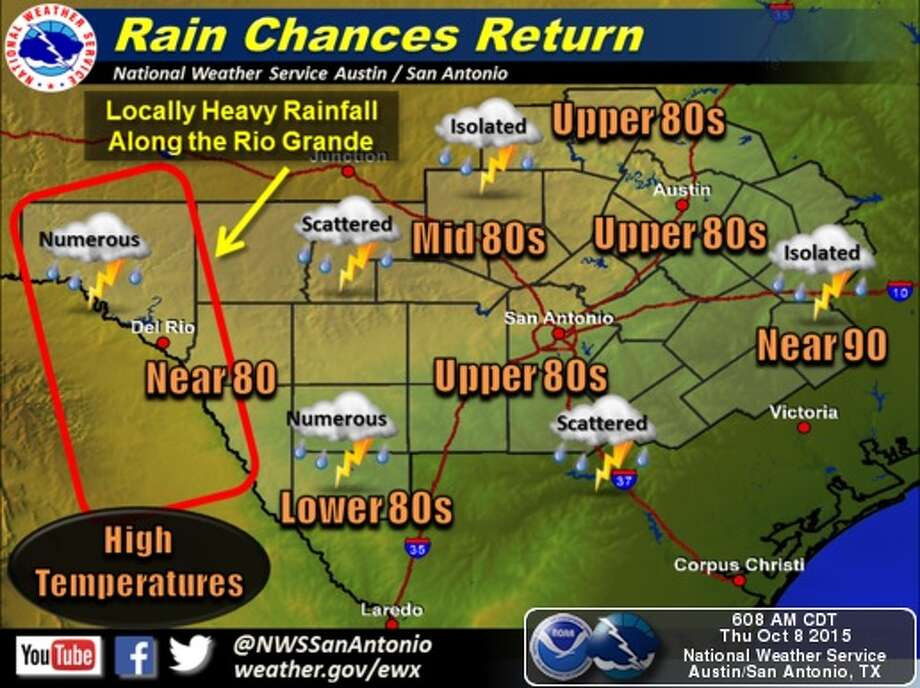 Showers are possible in San Antonio on Thursday and Friday. Photo: Natinoal Weather Service