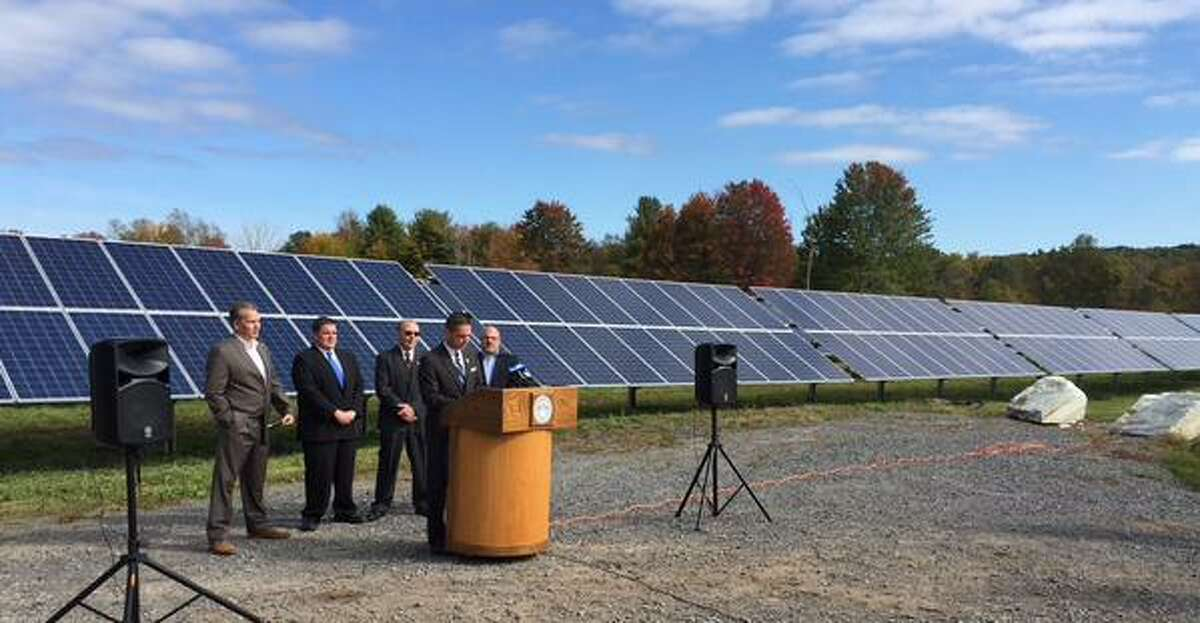Schenectady County expands its renewable energy program as it opens new solar farm in Glenville, NY, on Thursday, Oct. 8, 2015. (Skip Dickstein/Times Union)
