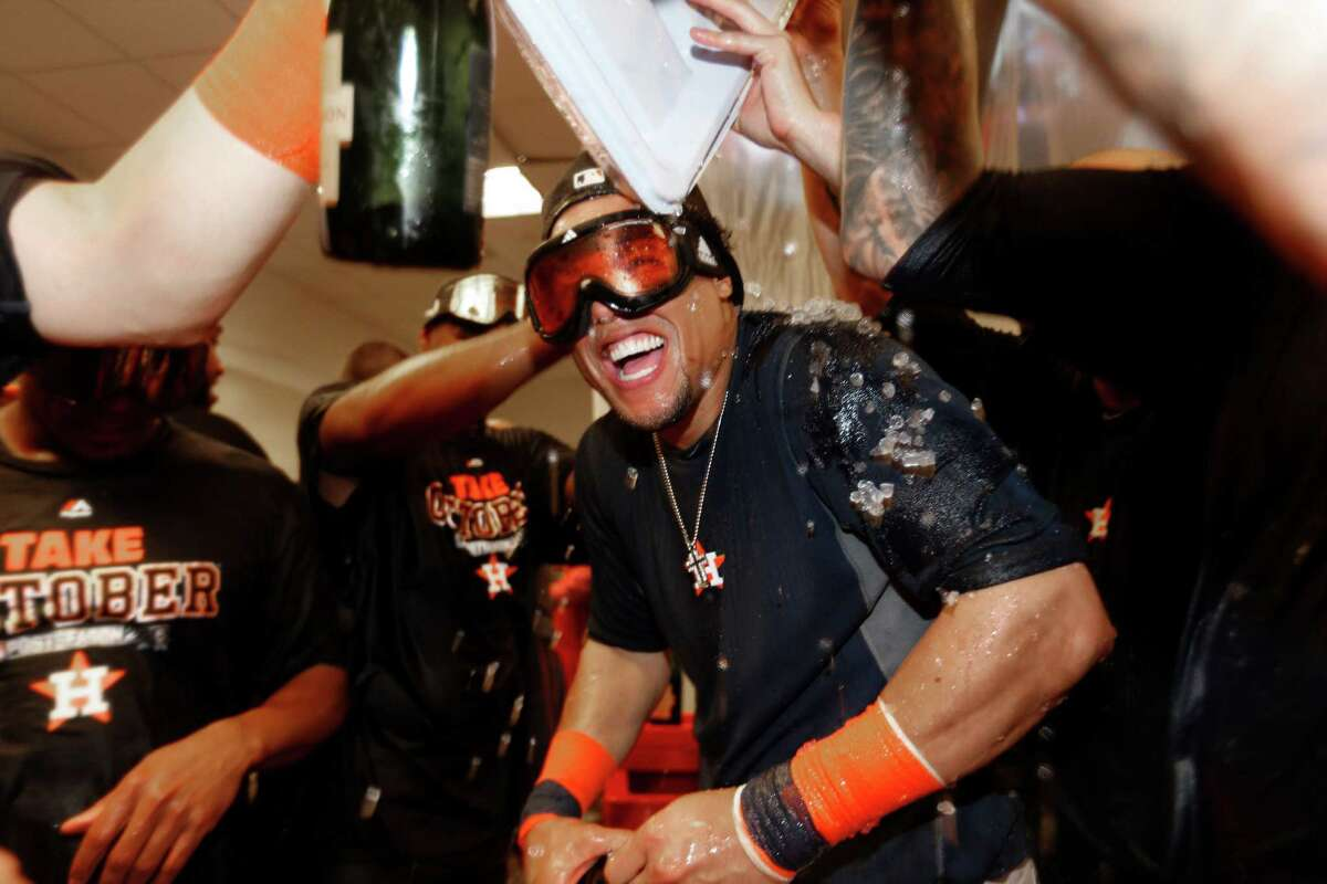 Houston Astros center fielder Carlos Gomez (30) celebrates the American League Wild Card game at Yankee Stadium on Tuesday, Oct. 6, 2015, in New York. ( Karen Warren / Houston Chronicle )