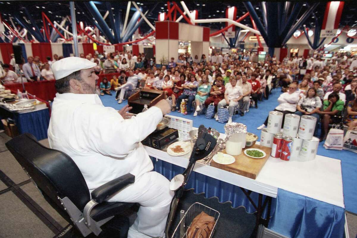 In May 1992, chef Paul Prudhomme addressed a crowd of Texas restaurant owners and managers Monday at the Southwestern Foodservice Convention & Exhibition at the George R. Brown Convention Center.