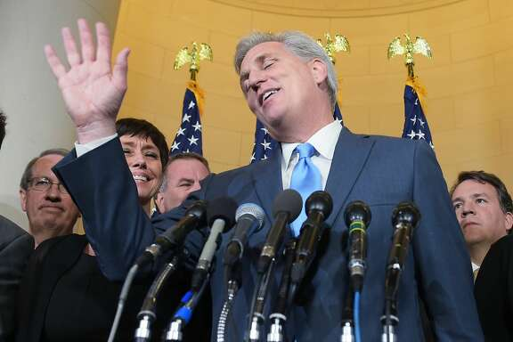 Representative Kevin McCarthy, R-CA, speaks following the Republican nomination election for House speaker in the Longworth House Office Building on October 8, 2015 in Washington, DC. McCarthy withdrew from the race to replace John Boenher as House speaker. AFP PHOTO/MANDEL NGANMANDEL NGAN/AFP/Getty Images