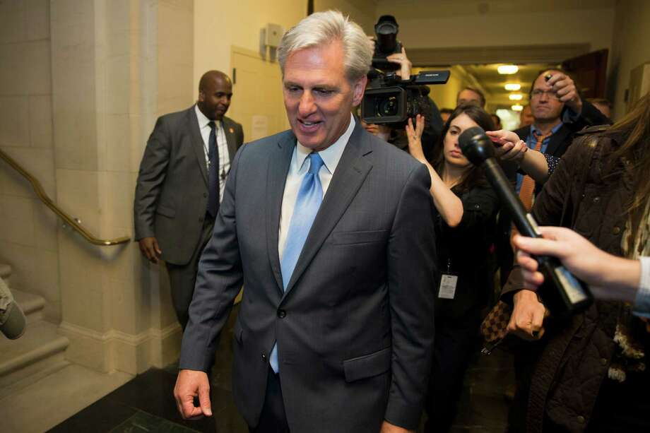 House Majority Leader of Kevin McCarthy of Calif. walks out of nomination vote meeting on Capitol Hill in Washington, Thursday after dropping out of the race to replace House Speaker John Boehner. Photo: Evan Vucci /Associated Press / AP