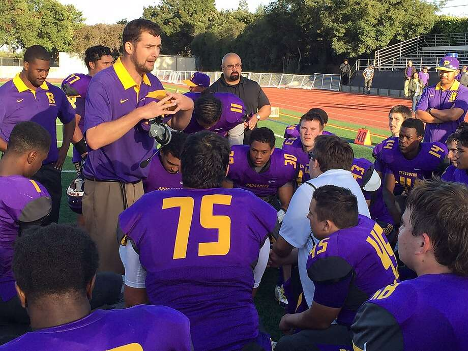 Riordan coach Kevin Fordan addresses his team after it improved its record to 4-0 with a 37-21 defeat of Archbishop Mitty on Oct. 3. Riordan, ranked 11th by The Chronicle, hosts fifth-ranked Serra (2-2) on Saturday. Photo: Mitch Stephens, Maxpreps