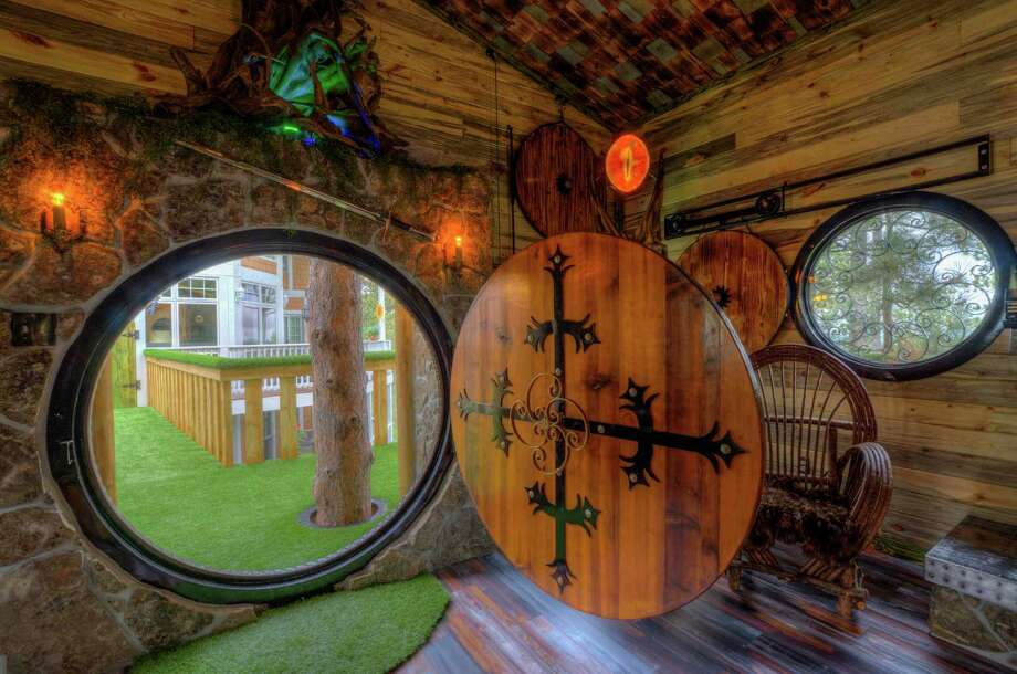 Gordon Mack and a friend built this Hobbit-themed treehouse as an addition to a chateau that Mack and his wife rent out regularly. Photo: Courtesy/Lisa Duncan