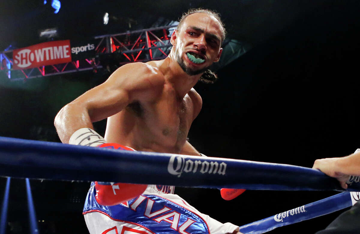 """Keith Thurman reacts after his WBA Interim Welterweight fight with Jesus Soto Karass part of the """"Danger Zone"""" boxing card Dec. 14, 2013, at the Alamodome. Thurman won by knockout."""