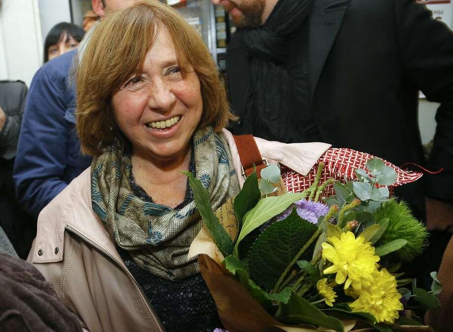 Belarusian writer Svetlana Alexievich wins the Nobel Prize in literature. Photo: Sergei Grits, Associated Press