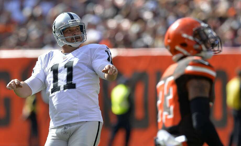 Raiders kicker Sebastian Janikowski may boot the Oakland record for games played out of reach by the time he's done. Photo: David Richard, Associated Press