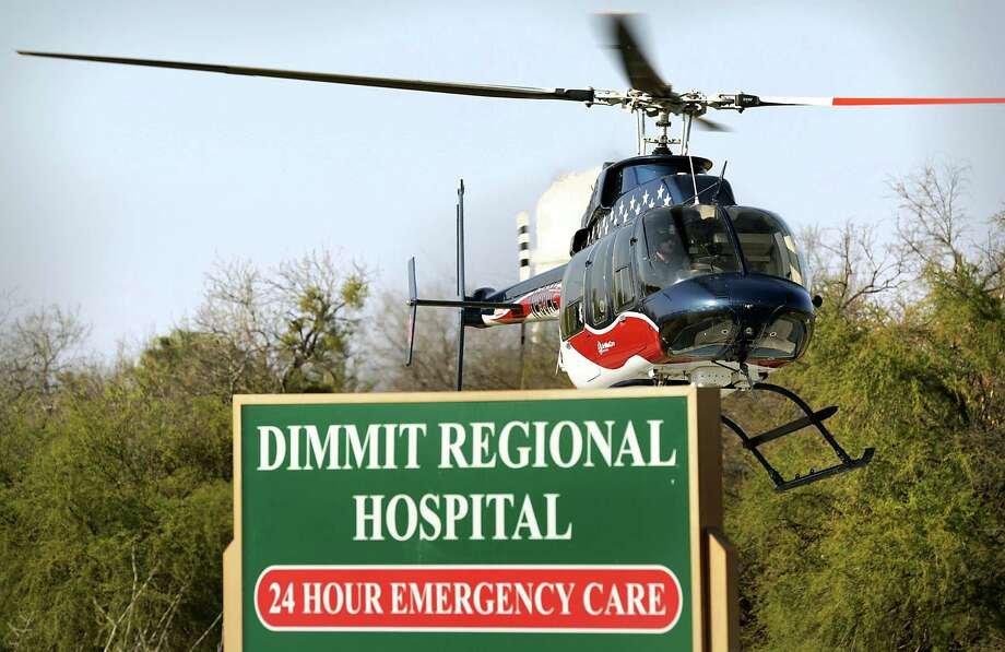 An Air Evac medical helecopter takes off at Dimmit County Regional Hospital in 2014, answering a call for an  accident on Texas Highway 85 about 3 miles out of Carrizo Springs involving an 18 wheeler and a vehicle owned by an energy company. Photo: BOB OWEN, Staff / © 2012 San Antonio Express-News