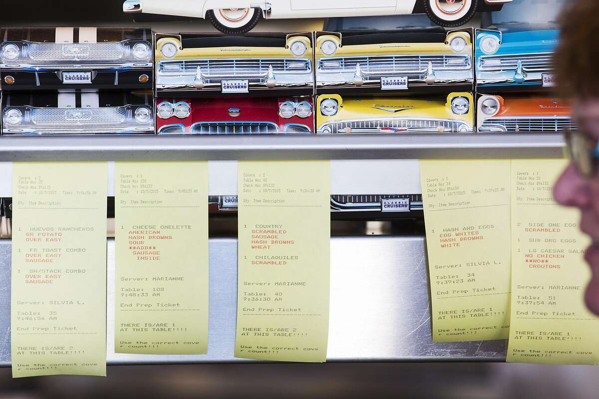 Breakfast orders line the kitchen at Mel's Drive-In on Geary Boulevard. (Photo by Erin Brethauer)