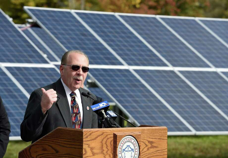 Anthony Jasenski, Sr. Chair of the Schenectady County Legislature speaks at the formal opening of the solar farm at the Schenectady County Compost Facility Oct. 8, 2015 in Glenville, N.Y.     (Skip Dickstein/Times Union) Photo: SKIP DICKSTEIN / 10033683A