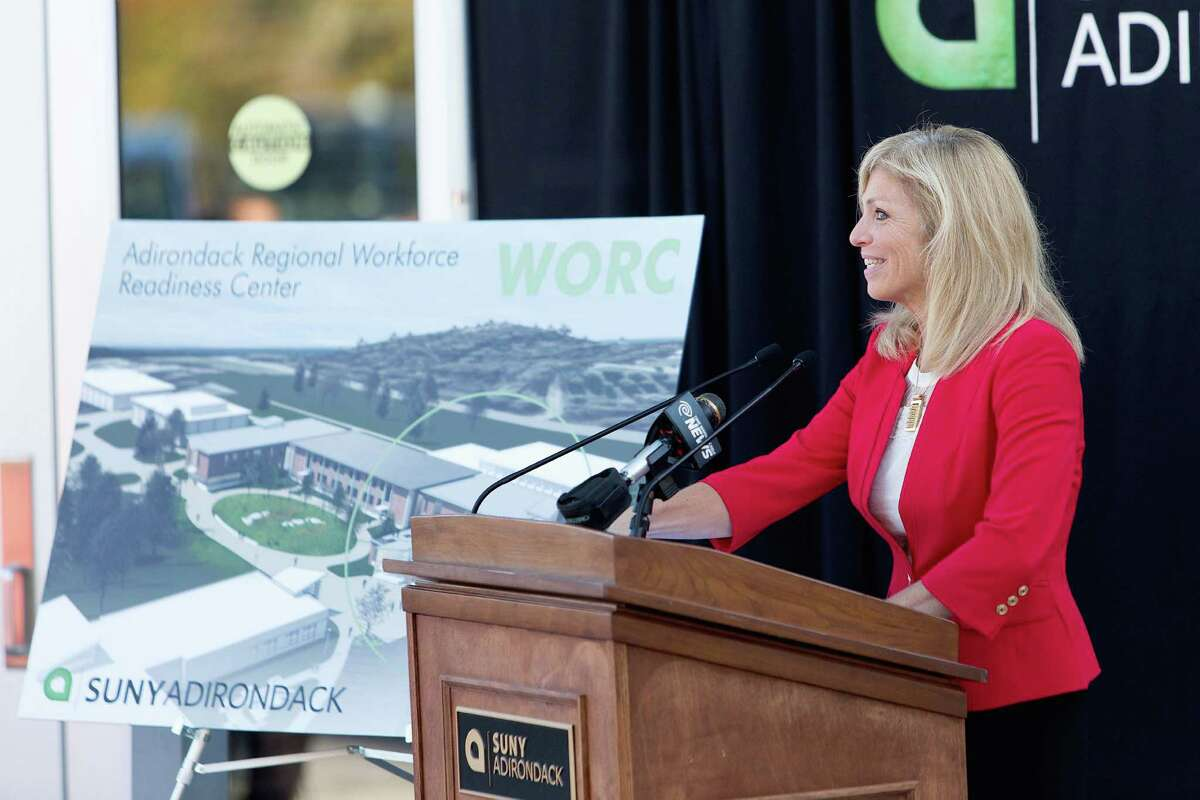 SUNY Adirondack President Kristine Duffy speaks at a news conference Thursday announcing a $9.7 million grant that will help the college build a workforce readiness center. (Photo provided by SUNY Adirondack)