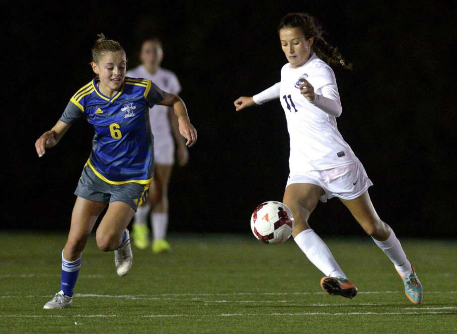 Photographs from the girls soccer game between Newtown and Immaculate high schools on Thursday night, October 8, 2015, at Immaculate High School, in Danbury, Conn. Photo: H John Voorhees III, Hearst Connecticut Media / The News-Times