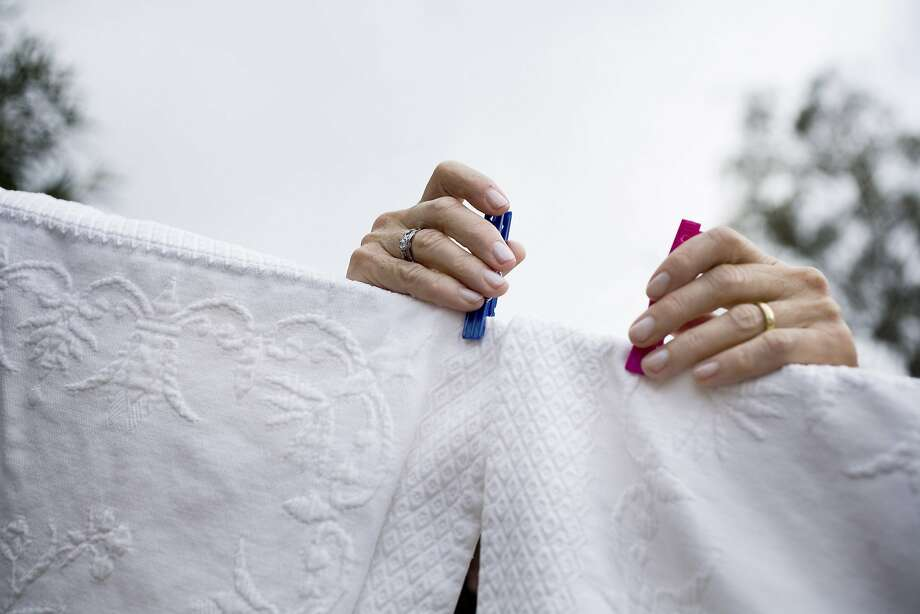 Laundry being hung to dry, in Rolling Hills, Calif. Photo: Sara Remington, NYT