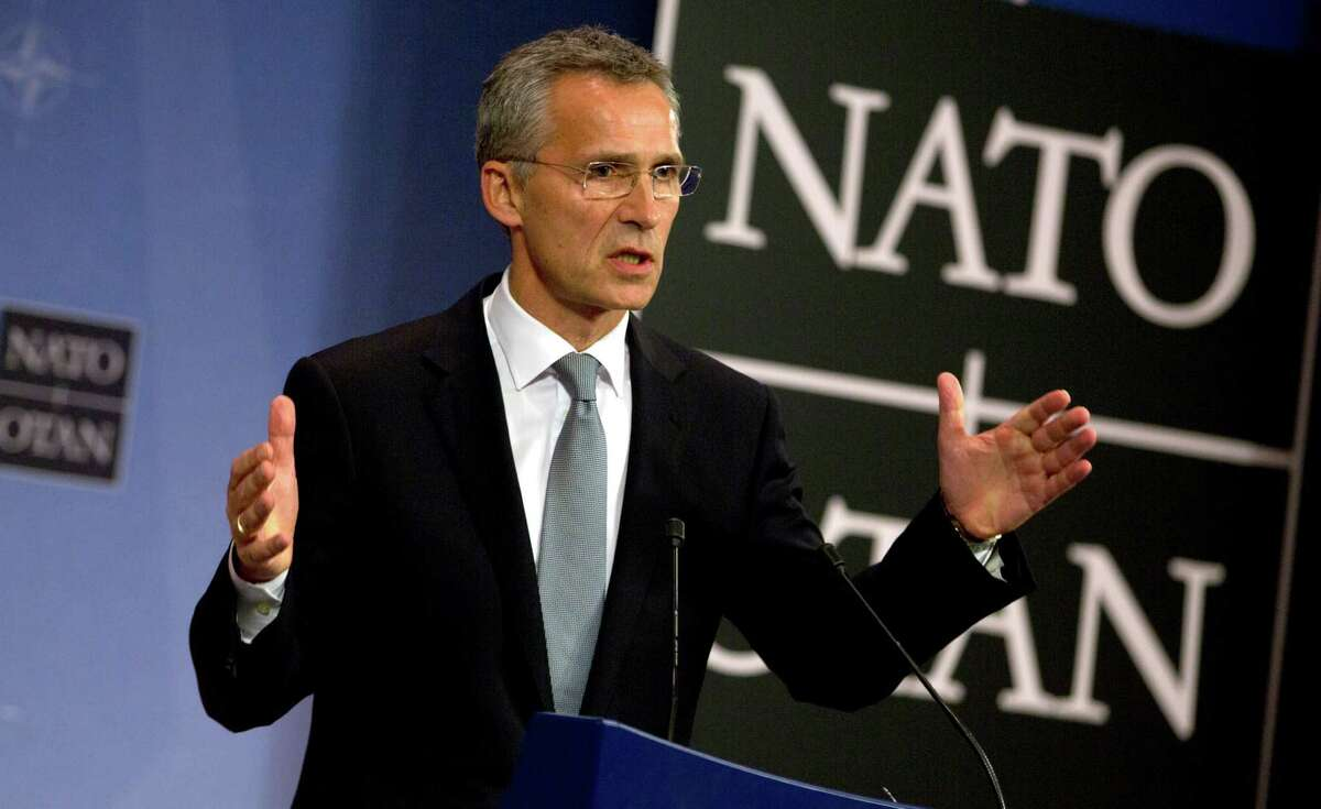 NATO Secretary General Jens Stoltenberg speaks during a media conference at NATO headquarters in Brussels on Thursday, Oct. 8, 2015. NATO defense ministers meet Thursday to consider the implications of recent Russian military actions in Syria, as well as ongoing measures to retool NATO to meet contemporary security threats. (AP Photo/Virginia Mayo) ORG XMIT: VLM140