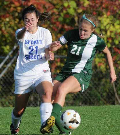 Shaker's Ryann Augstell and Shen's Emma Smith battle for the ball during their girl's high school soccer game on Thursday Oct. 8, 2015 in Colonie , N.Y.  (Michael P. Farrell/Times Union) Photo: Michael P. Farrell / 10033661A