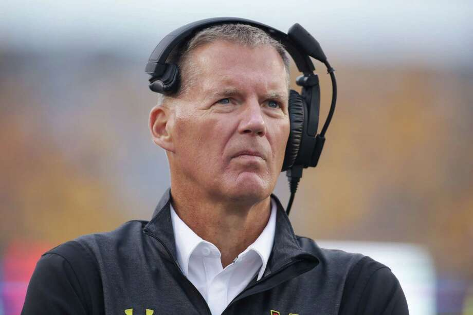 Maryland head coach Randy Edsall watches his team during the second half of an NCAA college football game against West Virginia, Saturday, Sept. 26, 2015, in Morgantown, W.Va. West Virginia defeated Maryland 45-6. (AP Photo/Raymond Thompson) Photo: Ray Thompson, FRE / FR171247 AP