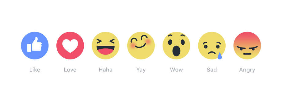 "This image provided by Facebook shows its newly introduced ""Reactions"" buttons. From left: like, love, haha, yay, wow, sad and angry.  Photo: Uncredited, HONS / Facbeook"