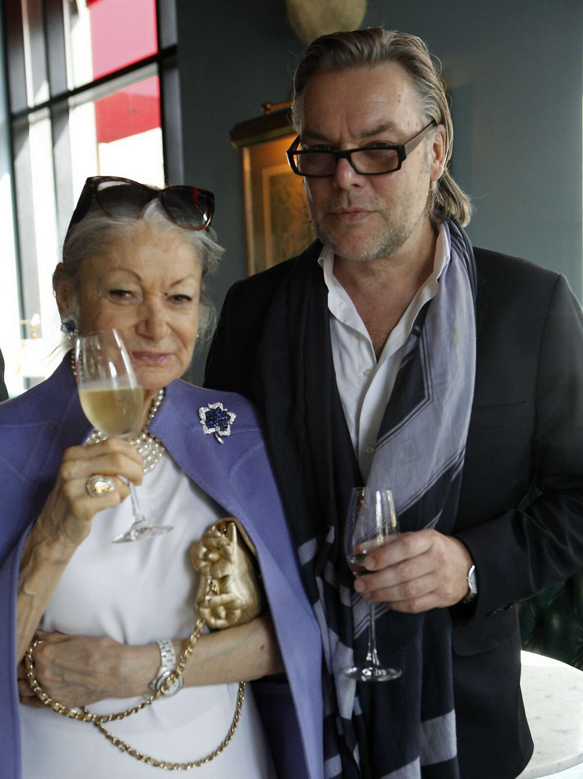 Celebrating the release of his book David Downton: Portraits of the Worlds Most Stylish Women, left to right, Denise Hale and David Downton, at The Cavalier October 8, 2015.