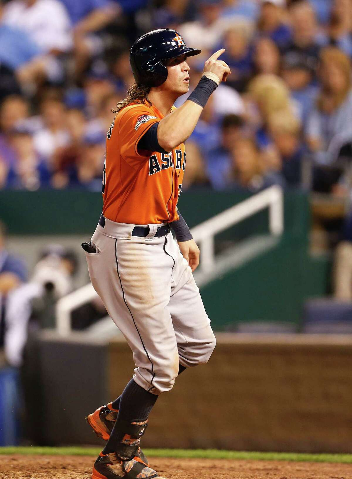 Houston Astros left fielder Colby Rasmus (28) celebrates after hitting a solo home run in the top of the eighth inning. Game 1 of the American League Division Series at Kauffman Stadium on Thursday, Oct. 8, 2015, in Kansas City. ( Karen Warren / Houston Chronicle )