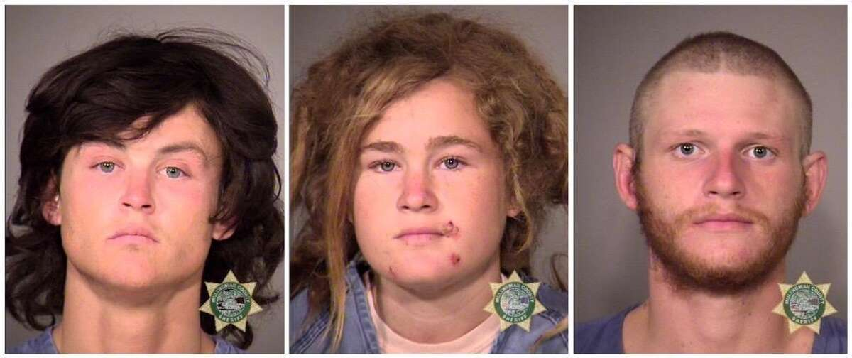 This combination of file photos provided by the Multnomah County Sheriff's Office show, from left, Sean Michael Angold, Lila Scott Allgood, and Morrison Haze Lampley. The three young transients were accused of robbing and killing two people in Northern California.