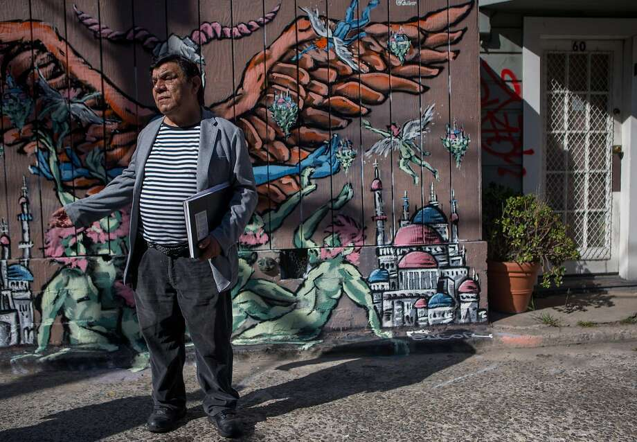 Artist René Yañez supports Prop. I, the ballot measure which would temporarily halt construction in the Mission District. Photo: Nathaniel Y. Downes, The Chronicle