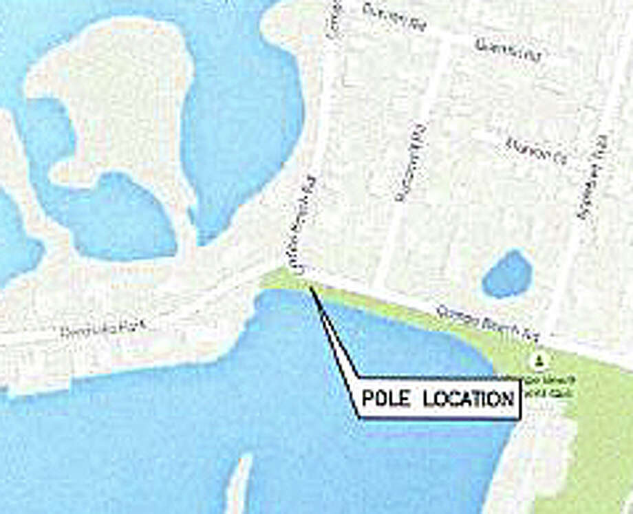 Map shows site on Compo Beach Road where Verizon proposes to add an antenna to a 35-foot-tall utility pole to improve cell phone service in the area. Photo: Contributed / Contributed Photo / Westport News