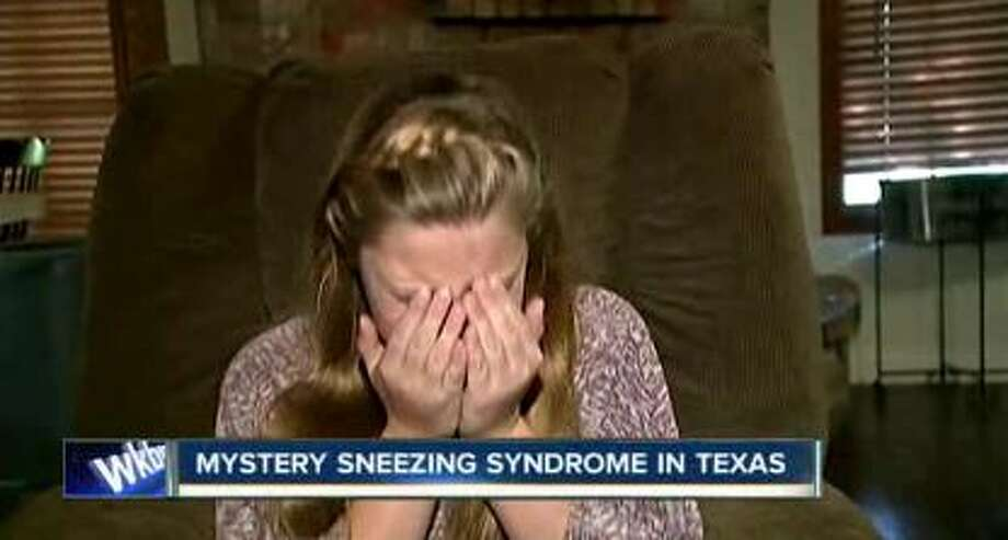 Katelyn Thornley, 12, of Angleton, has been sneezing nearly nonstop for about a month. Doctors are puzzled but have given her medication for tics, Oct. 9, 2015. Photo: Christian, Carol, Screen Grabs Via ABC7