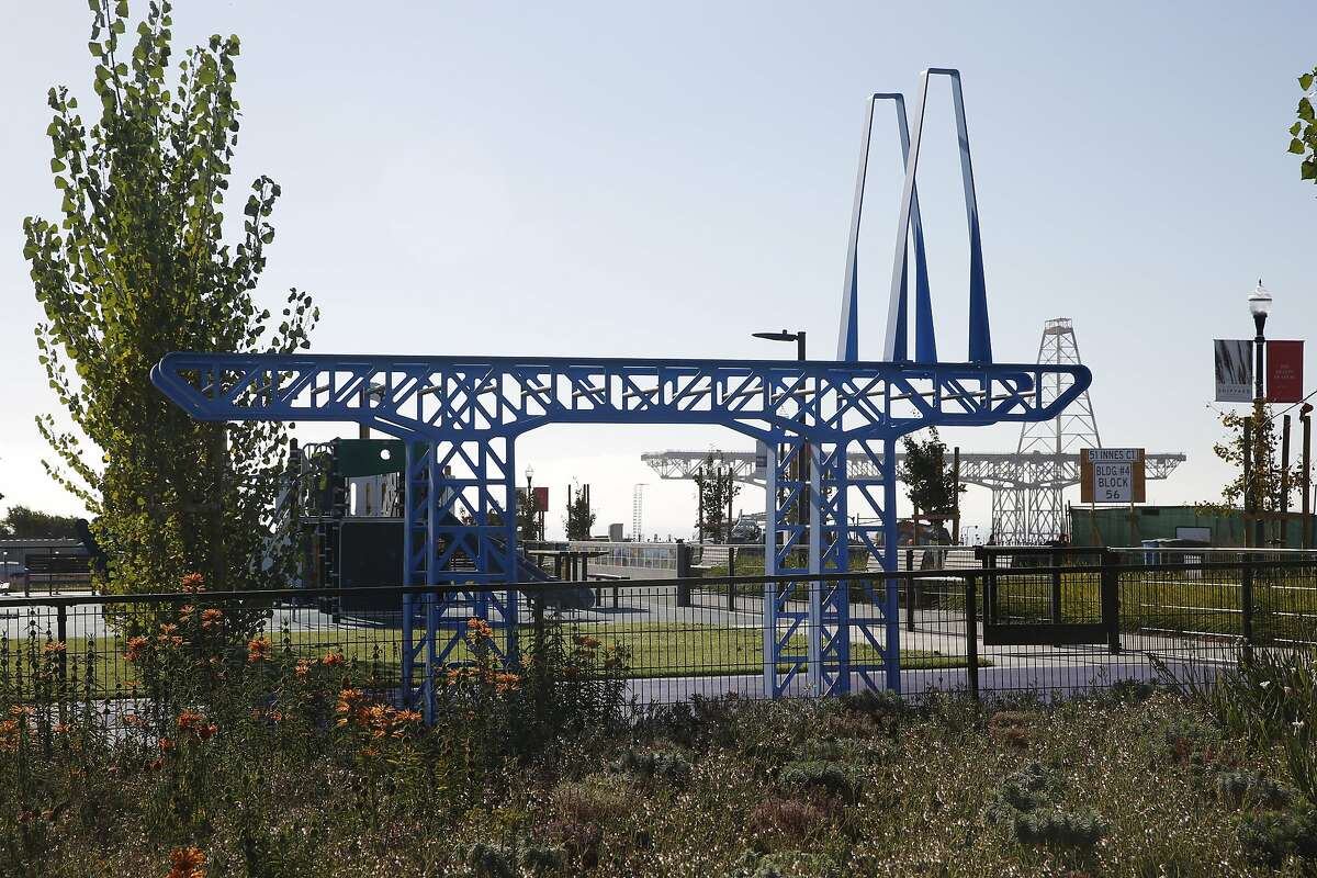 Gigantry by Matthew Passmore and Rebar Group references the formal characteristic of the historic bridge crane at the Shipyard and is a climbing structure at Innes Court Park in San Francisco, Calif., on Friday, October 2, 2015.