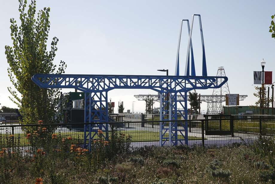 """Gigantry"" by Matthew Passmore and Rebar Group references bridge cranes at shipyards in San Francisco and is a climbing structure at Innes Court Park in San Francisco. Photo: Liz Hafalia, The Chronicle"