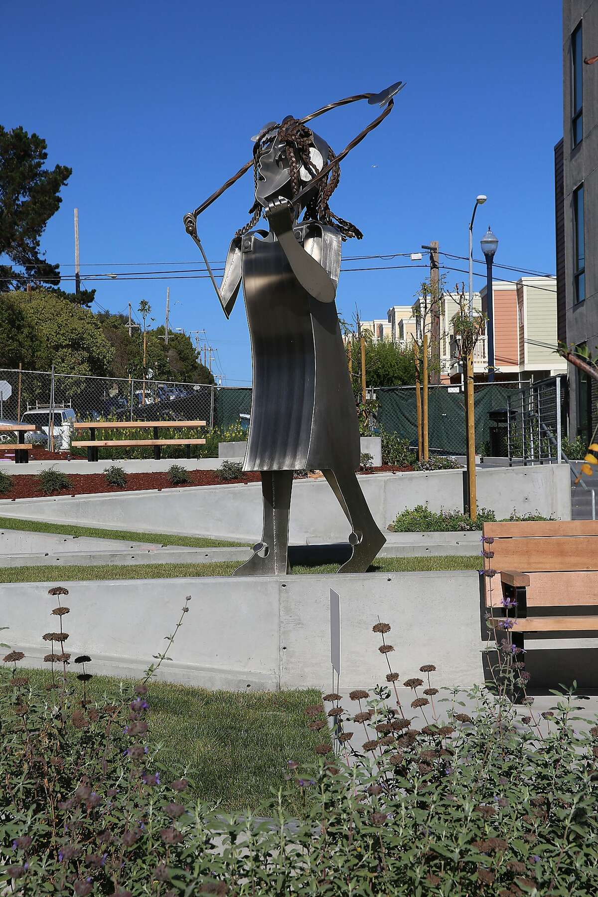 Butterfly Girl by Jason Webster is a twelve-foot figure of a girl jumping rope at Olympia Park in San Francisco, Calif., on Friday, October 2, 2015.