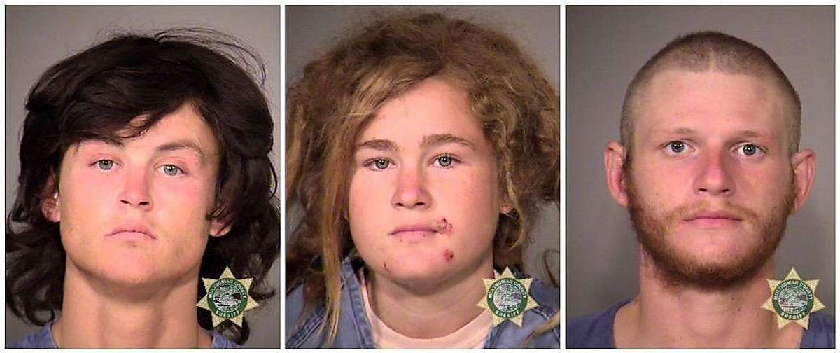 Sean Michael Angold, from left, Lila Scott Alligood, and Morrison Haze Lampley face capital murder charges in connection with the slayings of a Canadian backpacker in Golden Gate Park and and a Tantra instructor on a Marin County hiking trail.