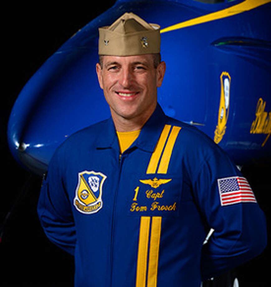 "Capt. Thomas Frosch, Flight Leader & Commanding Officer Member of the U.S. Navy Blue Angels since 2012 Background: Native of Clinton Township, Mich.; graduated from U.S. Naval Academy in 1992 with a BS. in Engineering in 1992Numbers: more than 3,800 flight hours and 830 carrier-arrested landingsDecorations: the Defense Meritorious Service Medal, two Meritorious Service Medals, two Individual Air Medals with Combat ""V"" (Six Strike Flight), three Navy Commendation Medals, one with Combat ""V,"" and numerous unit, campaign, and service awards Experience: Everything from flying in  support of Operation Allied Force in Kosovo to serving as Department Head for Strike Fighter Squadron 192 (VFA-192), the ""World Famous Golden Dragons,"" at Naval Air Facility Atsugi, Japan.  Full bio Photo: Blue Angels"