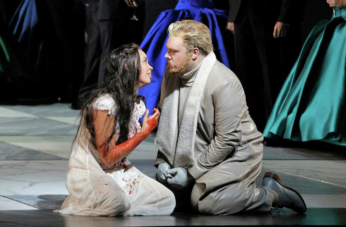 """Nadine Sierra as the title character and Brian Mulligan as her brother, Enrico, in the San Francisco Opera production of """"Lucia di Lammermoor."""""""
