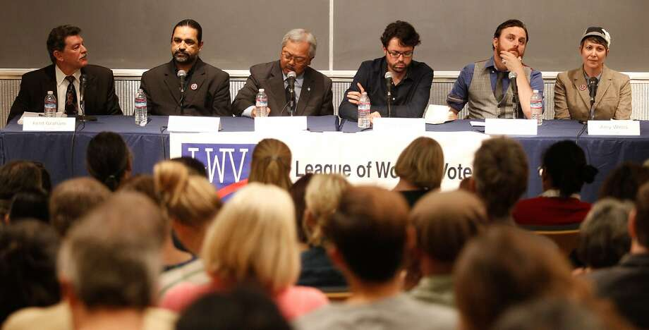 San Francisco mayoral candidates, left to right, Kent Graham, Francisco Herrera, Ed Lee, Reed Martin, Stuart Schuffman and Amy Weiss sit before a public Q & A held by the League of Women Voters on Thursday, Oct. 8, 2015. Following are the candidates and some of their top campaign positions: Photo: Mathew Sumner, Special To The Chronicle