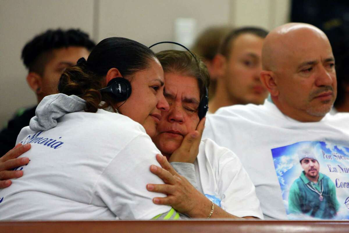 The family of Jesus Bejar-Avila becomes emotional in the courtroom during the sentencing of Alberto Avila-Cardenas for the murders of Jesus Bejar-Avila, Christian Rangel and Yazmani Quezada-Ortiz, at the Maleng Regional Justice Center, Friday, October 9, 2015. Avila-Cardenas was sentenced to the maximum of 95 years.