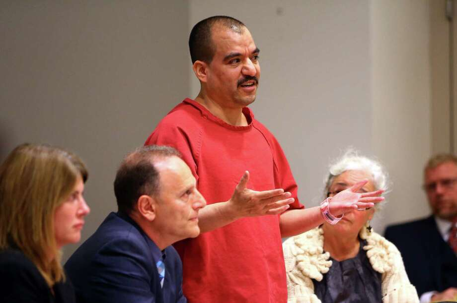 Defendant Alberto Avila-Cardenas speaks before the court during his sentencing for the murders of Jesus Bejar-Avila, Christian Rangel and Yazmani Quezada-Ortiz, at the Maleng Regional Justice Center, Friday, October 9, 2015.  He was sentenced to the maximum of 95 years. Photo: GENNA MARTIN, SEATTLEPI.COM / SEATTLEPI.COM