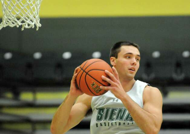 Siena College men's basketball junior forward Brett Bisping during practice on Thursday Oct. 8, 2015 in Loudonviile , N.Y.  (Michael P. Farrell/Times Union) Photo: Michael P. Farrell / 10033653A