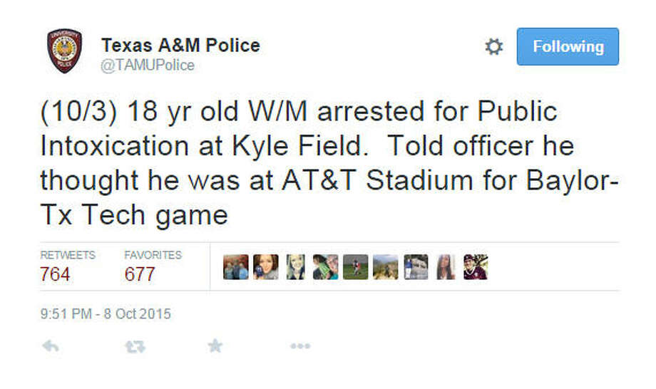 An honest mistake (honestly drunk)A drunk 18 year old was charged with public intoxication at Kyle Field. The man was apparently so drunk, he thought he was 187 miles north at AT&T Stadium in Dallas for a Baylor-Texas Tech game..(Source: Texas A&M Police on Twitter) Photo: TAMUPolice On Twitter