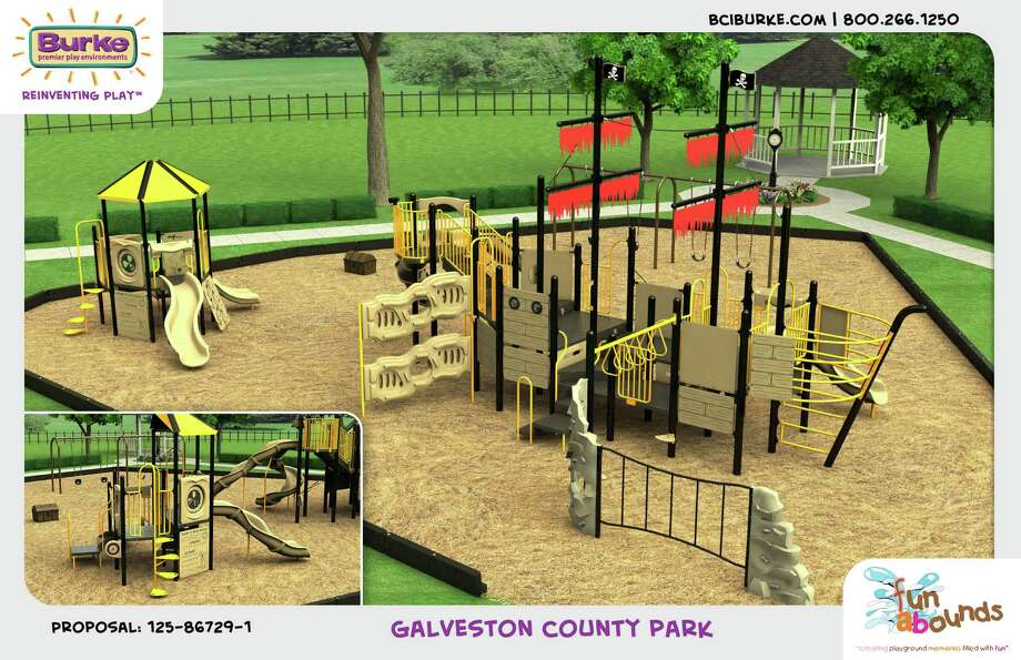 This playground is one of the features proposed for a 64-acre park that Galveston County plans to build in Bacliff. Photo: Burke