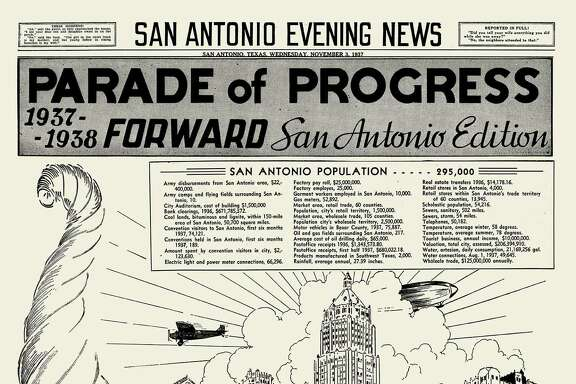 This November 1937 Parade of Progress Edition reported a San Antonio population of 295,000. The artwork was done by an artist for the San Antonio Evening News who signed the work with the name Neuheisel.